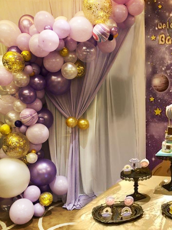 custom colors garland arch with marble balloons balloons