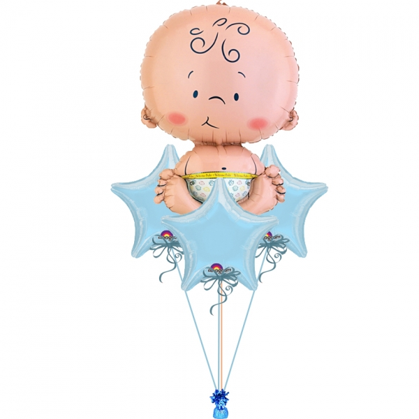Cute Baby Boy Bouquet 2 Balloons Vancouver Jc Balloon Studio
